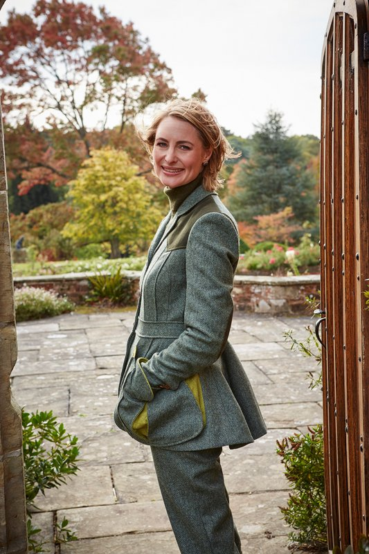 Ladies Norfolk Jacket – Green Herringbone