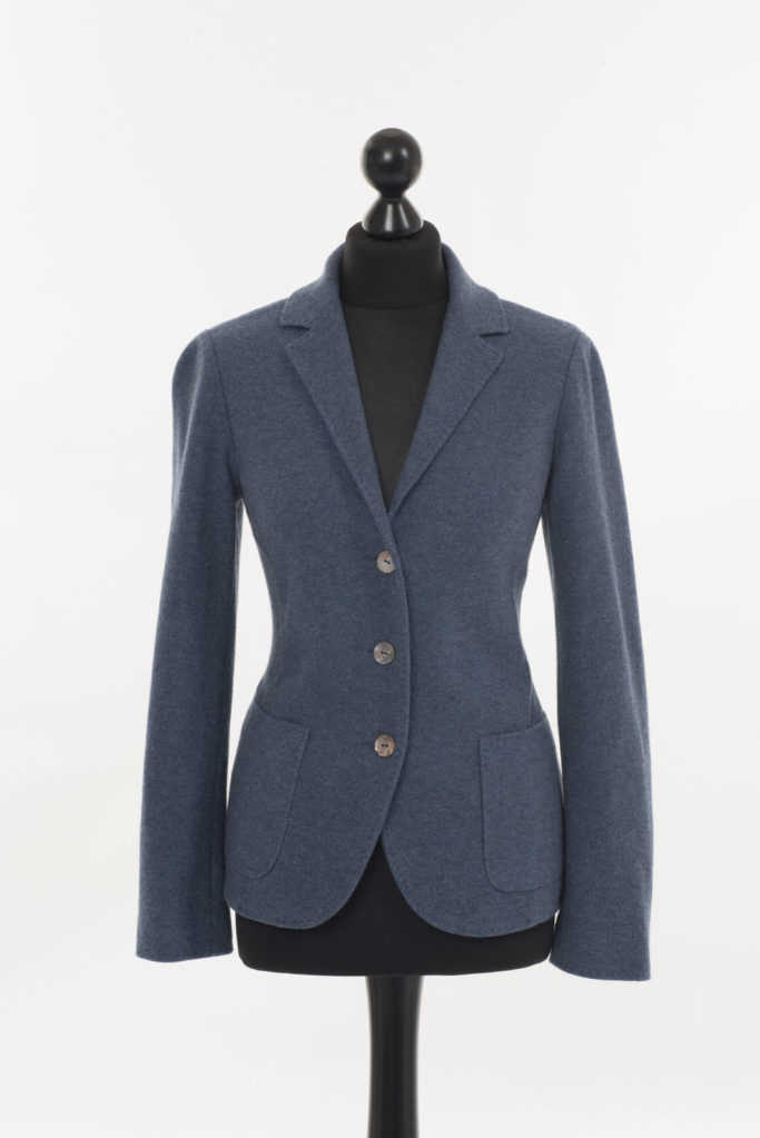 Ladies Cashmere Blazer Blue Denim