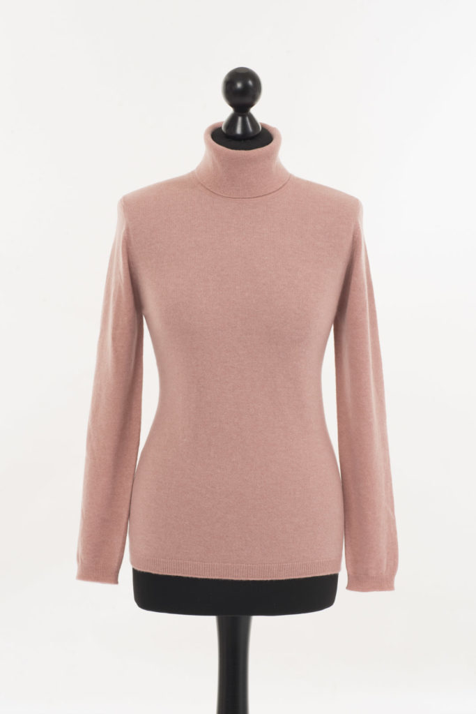 Ladies Cashmere Polo Neck – Champagne Pink