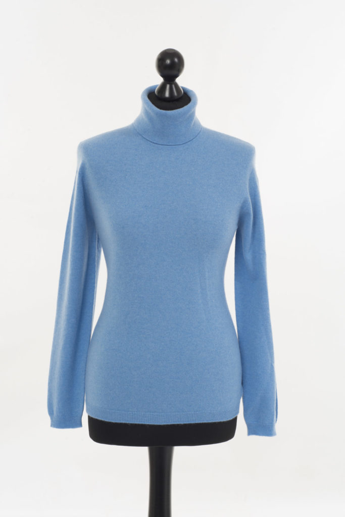 Ladies Cashmere Polo Neck – Castlebar Blue