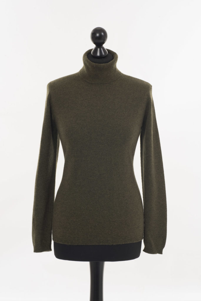 Ladies Cashmere Polo Neck – Loden Green