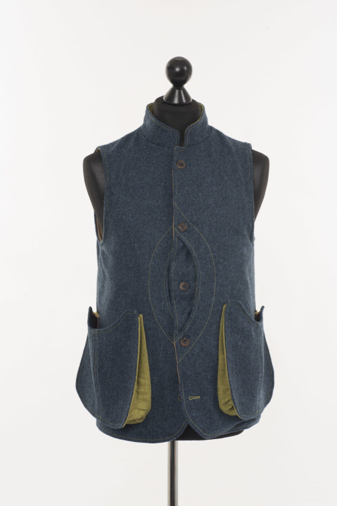 Mens Gilet Denim Blue Herringbone