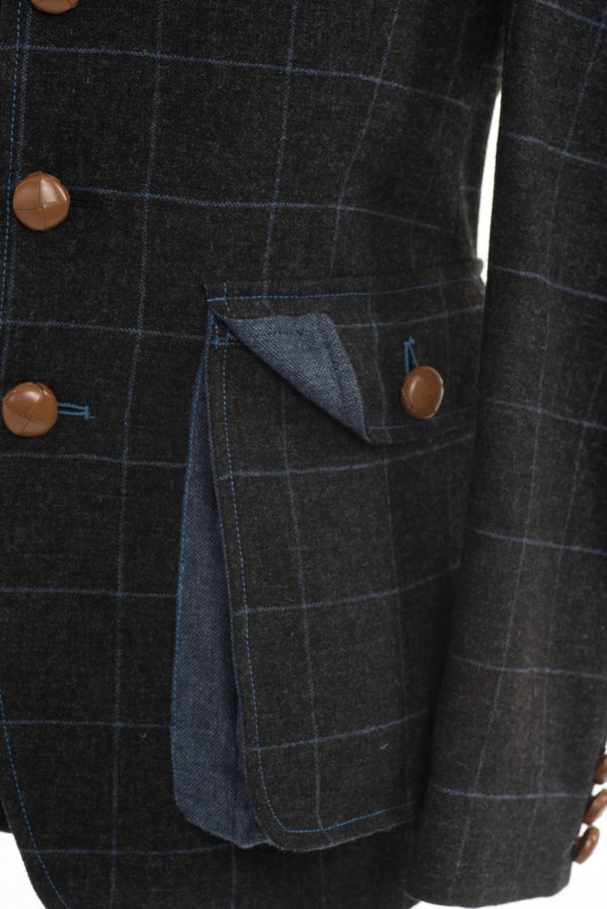 Sarsfield Jacket – Charcoal with Blue Check