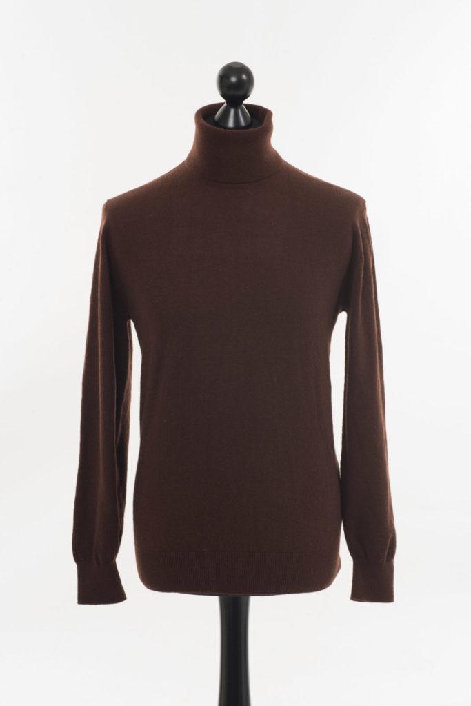 Mens Polo Neck Jumper – Dark Brown (Cocoa)