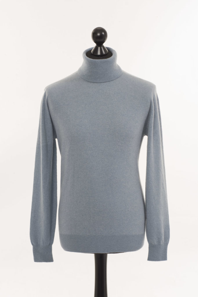 Mens Cashmere Polo Neck – Stone Blue