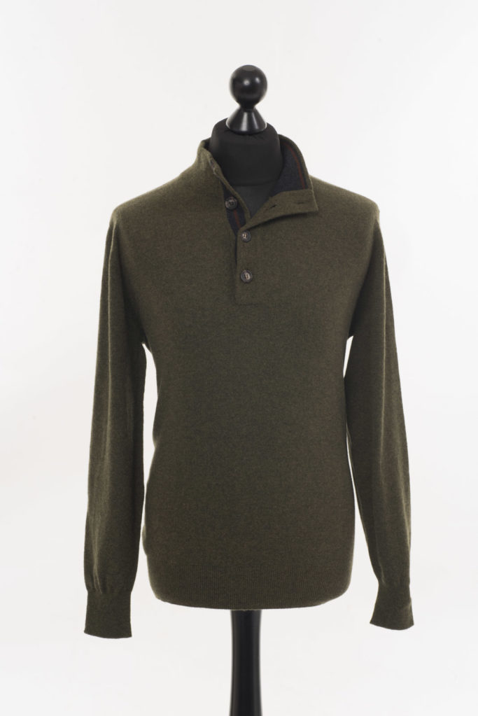 Mens Cashmere Button Neck Jumper – Loden Green