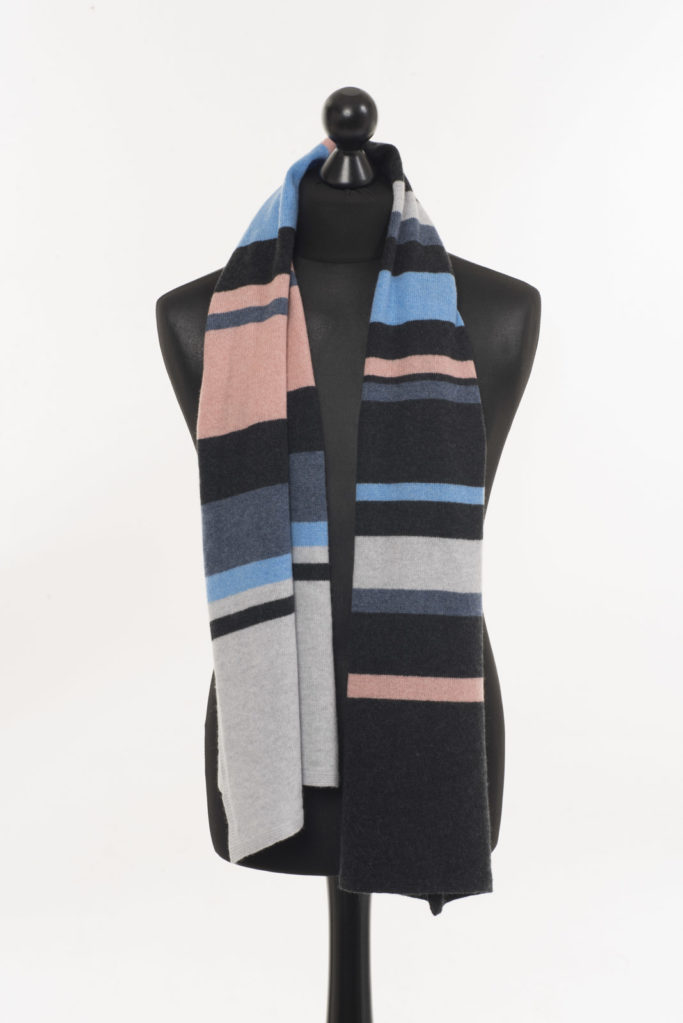 Lucan Stripey Scarf – Blue/Champagne Pink
