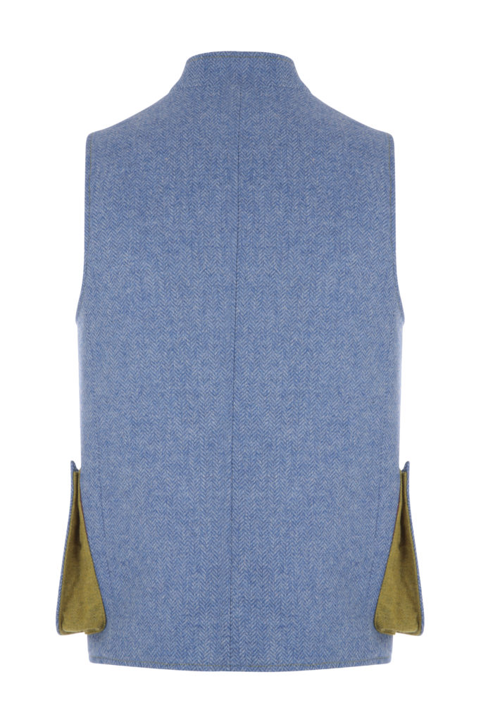 Mens Gilet Light Blue Herringbone
