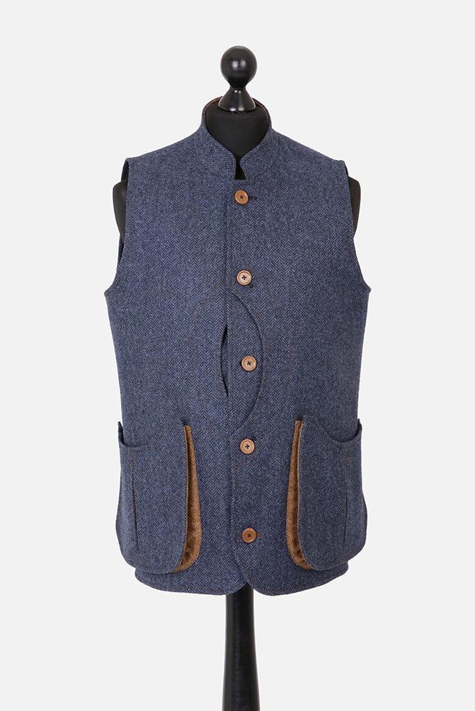 Mens Gilet – Dark Blue Denim Herringbone with Ginger Brown Pop