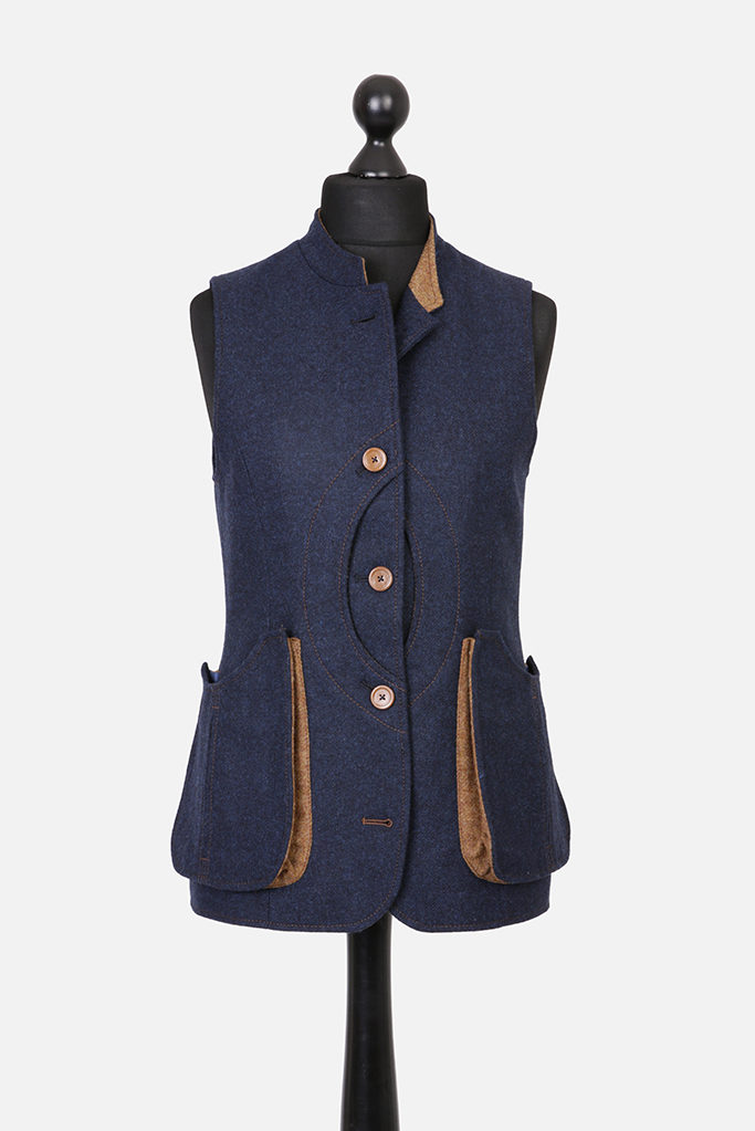 Ladies Nehru Gilet – Indigo Tweed with Ginger Brown Pop