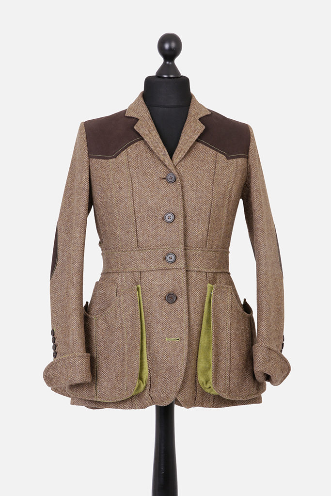 Ladies Norfolk Jacket – Brown Herringbone