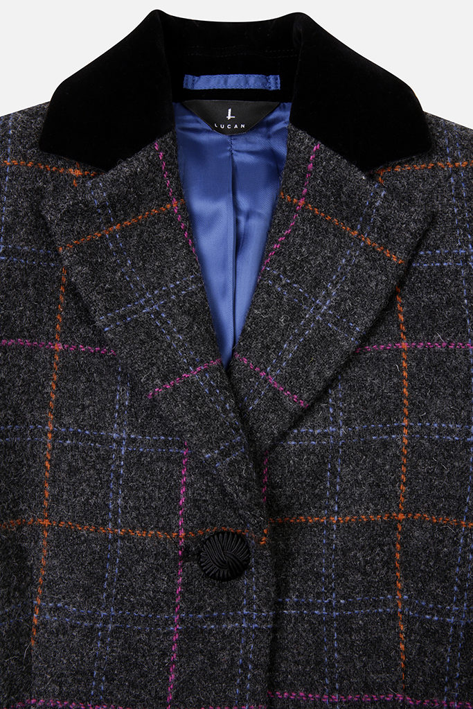 Mayo Coat – Dark Grey Harris Tweed
