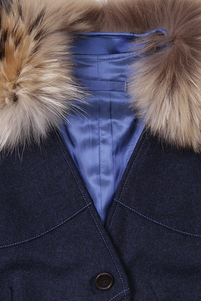 Ladies Gilet Vest in Indigo Herringbone