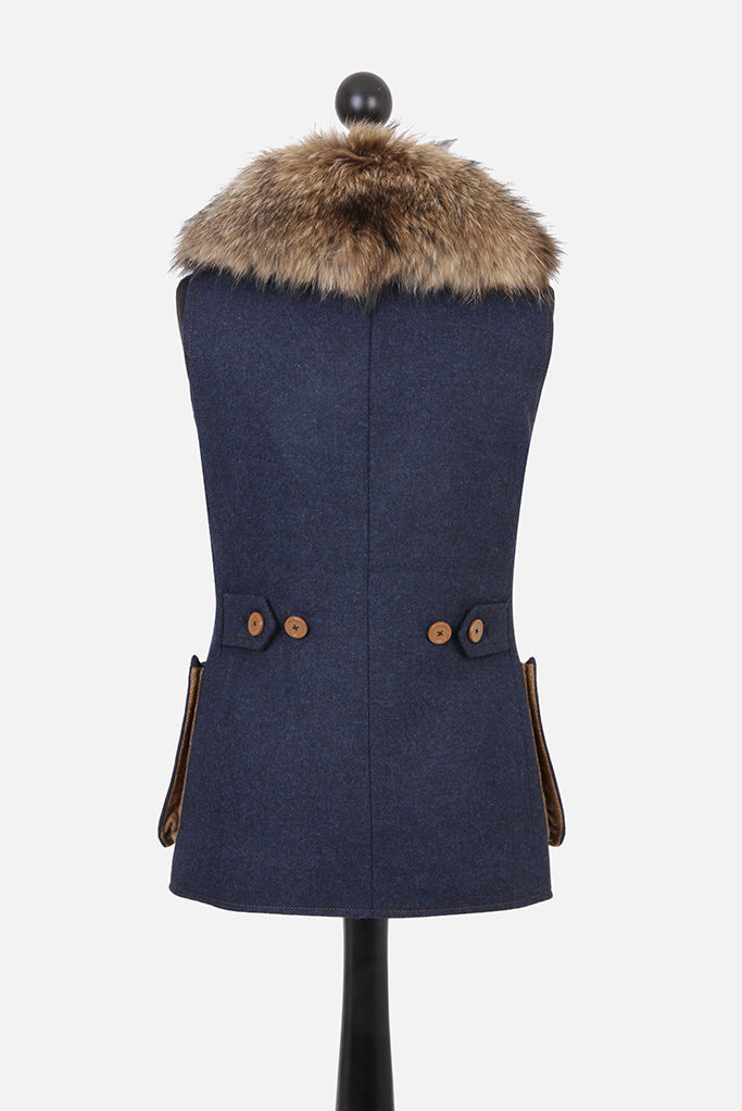 Ladies V-Neck Gilet – Indigo Tweed with Ginger Brown Pop