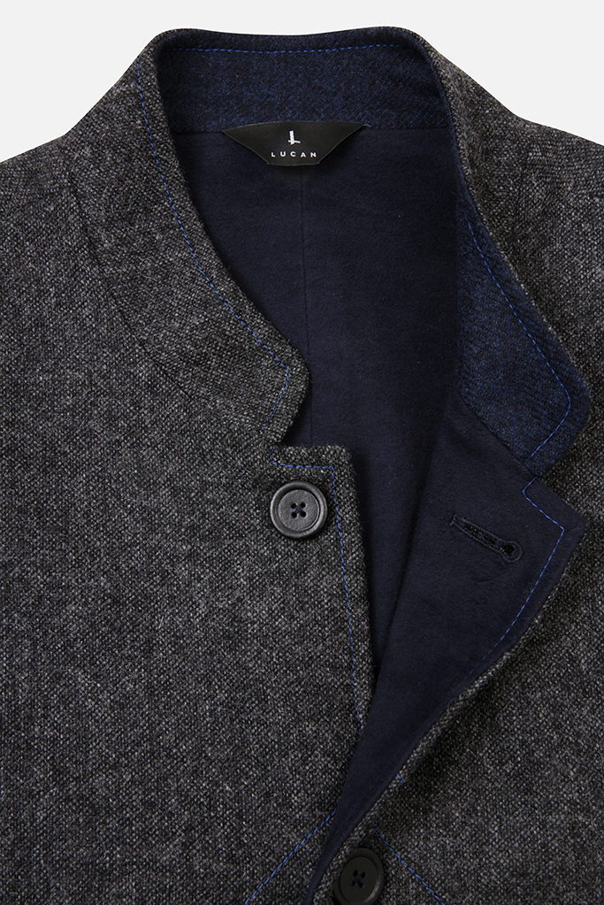 Mens Gilet – Charcoal Grey Donegal with Indigo Tweed Pop