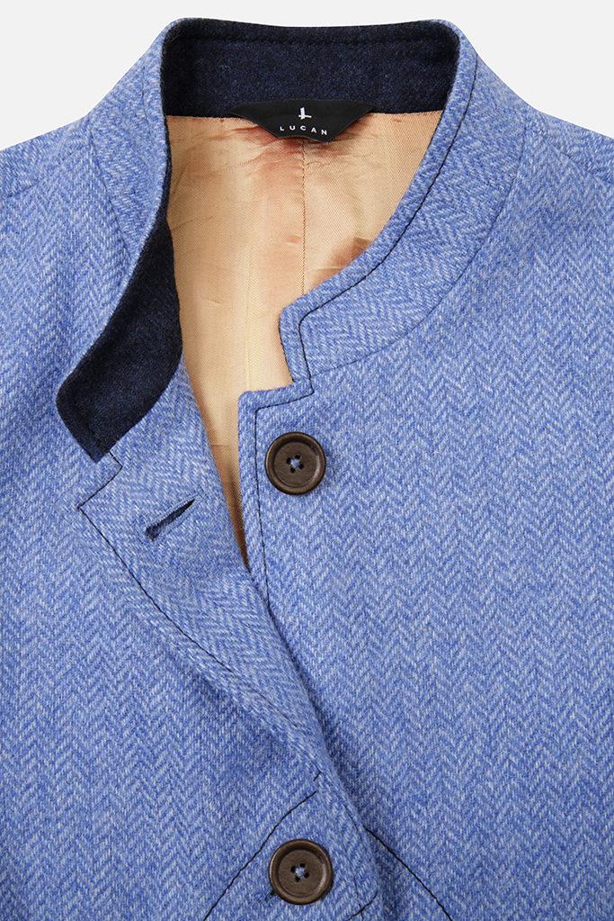 Ladies Nehru Gilet – Light Blue Herringbone Tweed with Indigo Pop