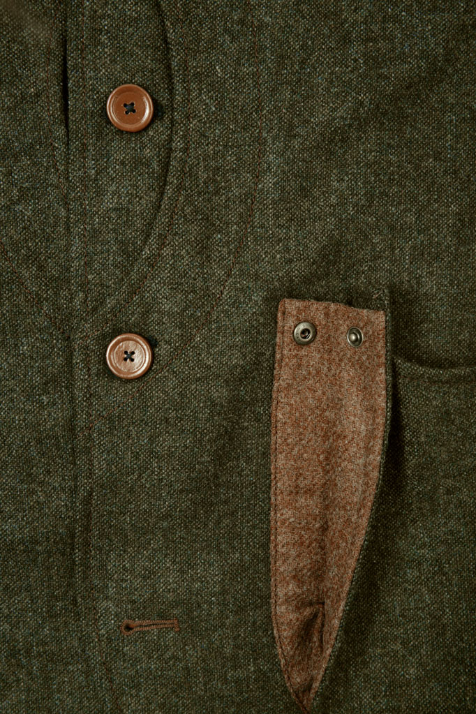 Mens Gilet – Loden Green Donegal with Ginger Brown Pop
