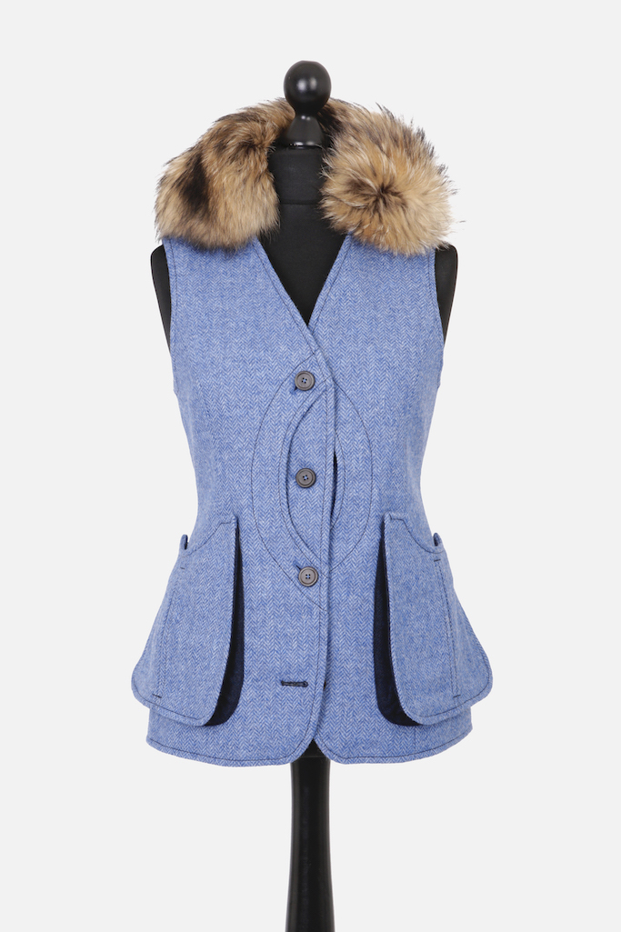 Ladies V-Neck Gilet – Light Blue Herringbone Tweed with Indigo Pop