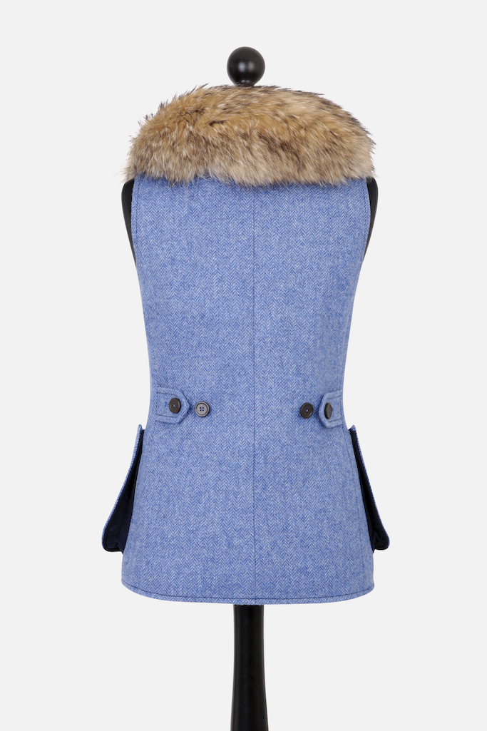Ladies V-Neck Gilet – Light Blue Herringbone Tweed with Indigo Pop
