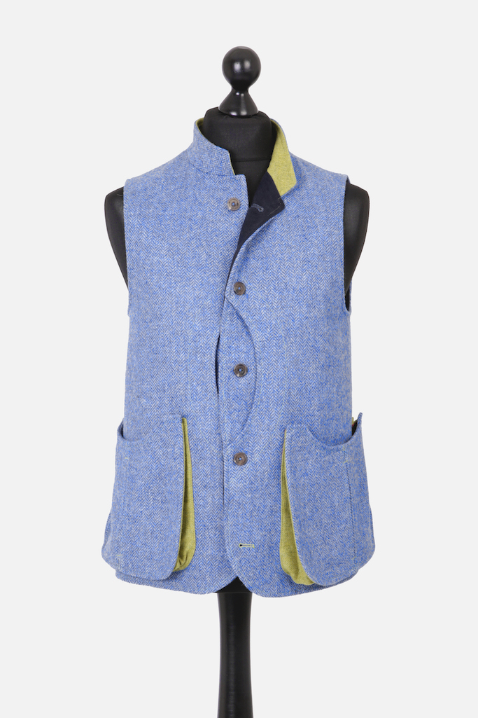Mens Gilet – Light Blue Herringbone