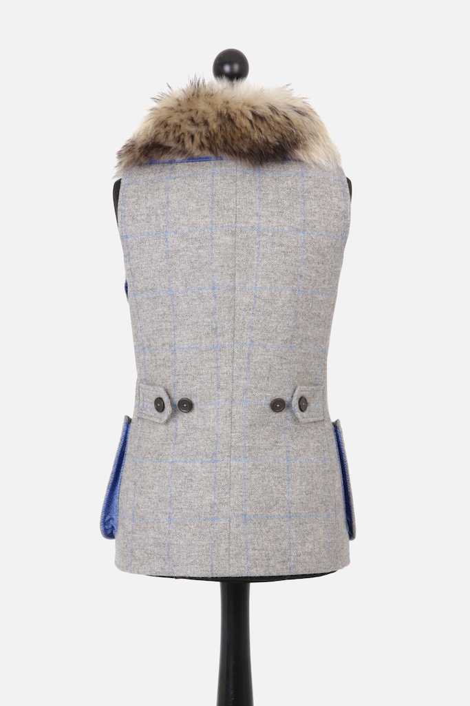 Ladies Gilet Vest in Grey Herringbone