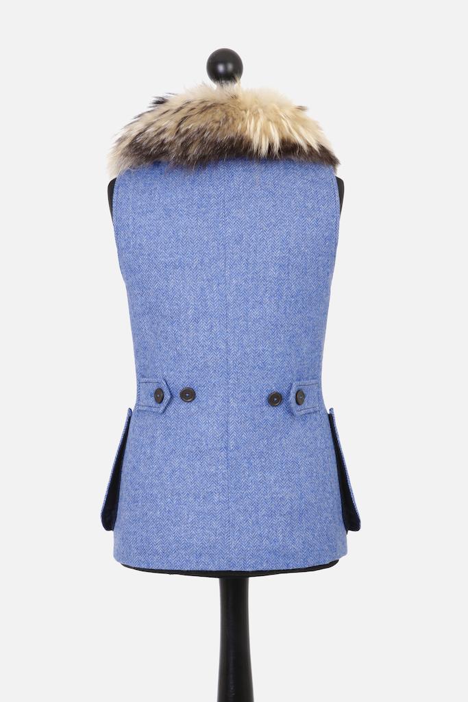 Ladies Gilet Vest in Light Blue Herringbone