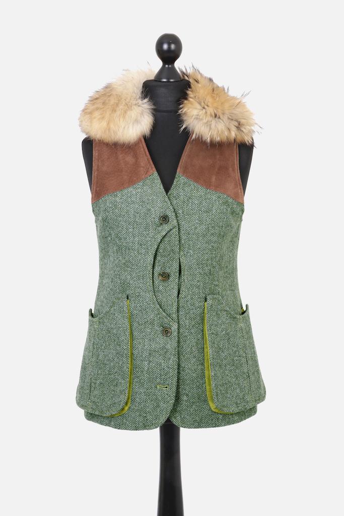 Ladies Gilet Vest in Green Herringbone – Gold Winner of Best Ladies Shooting Garment UK Shooting Awards 2019