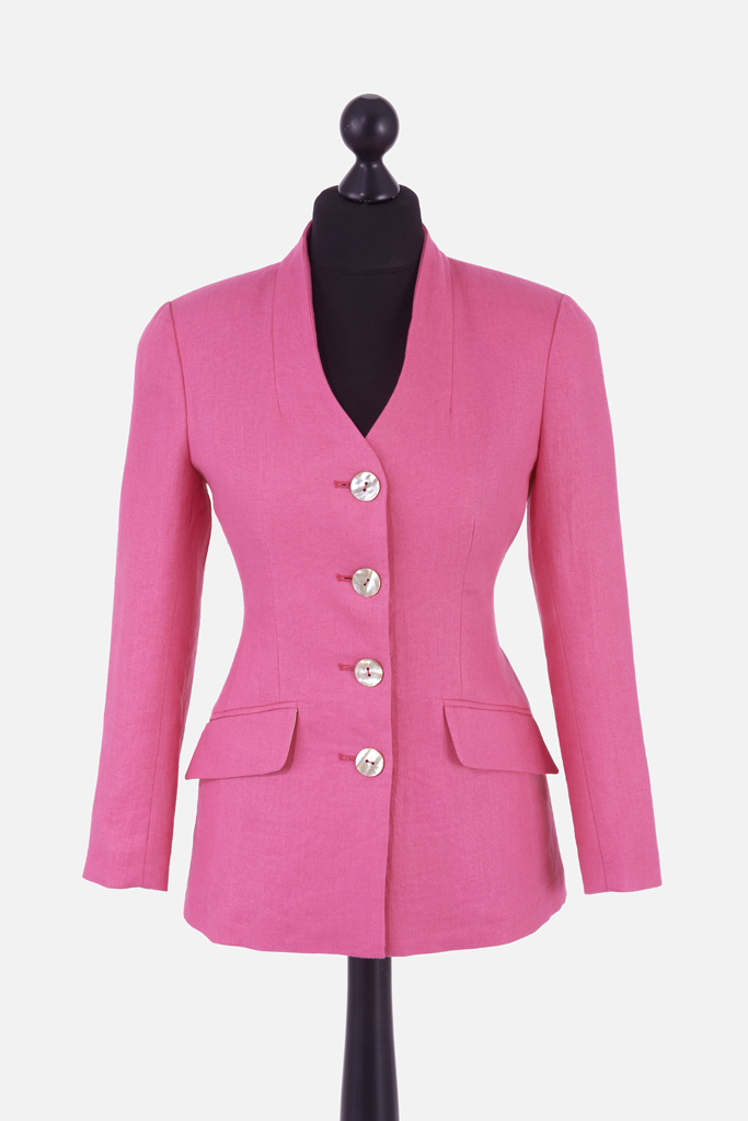 Ladies Carra Jacket – Fuchsia Irish Linen