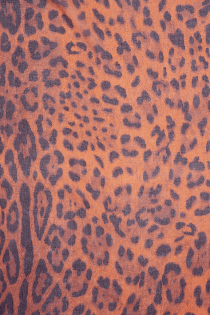 Leopard Scarf – Orange Silk Chiffon