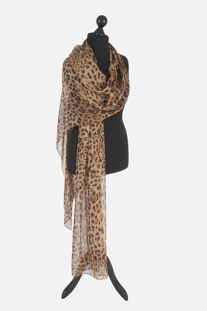 Leopard Scarf – Tan Silk Chiffon