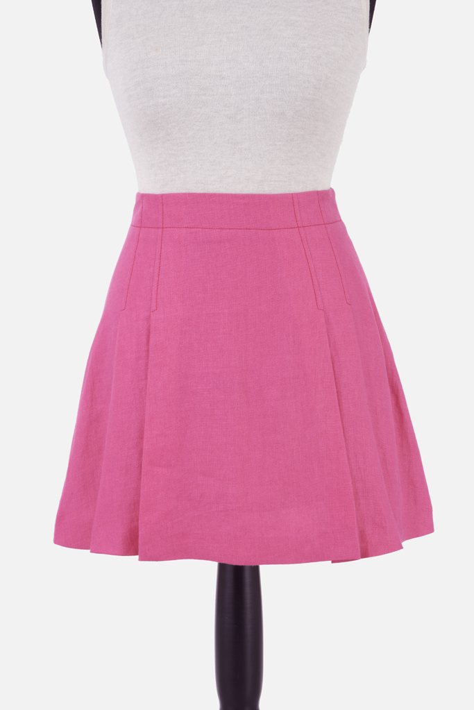 Pleated Mini Skirt – Fuchsia Irish Linen