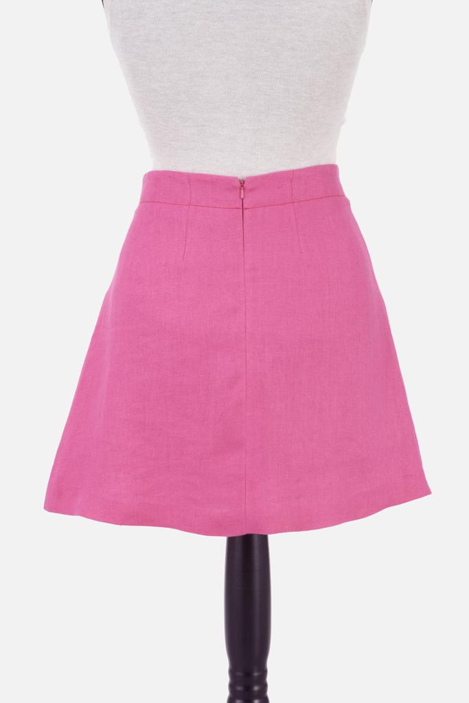 Pleated Mini Skirt – Fuchsia Irish Linen