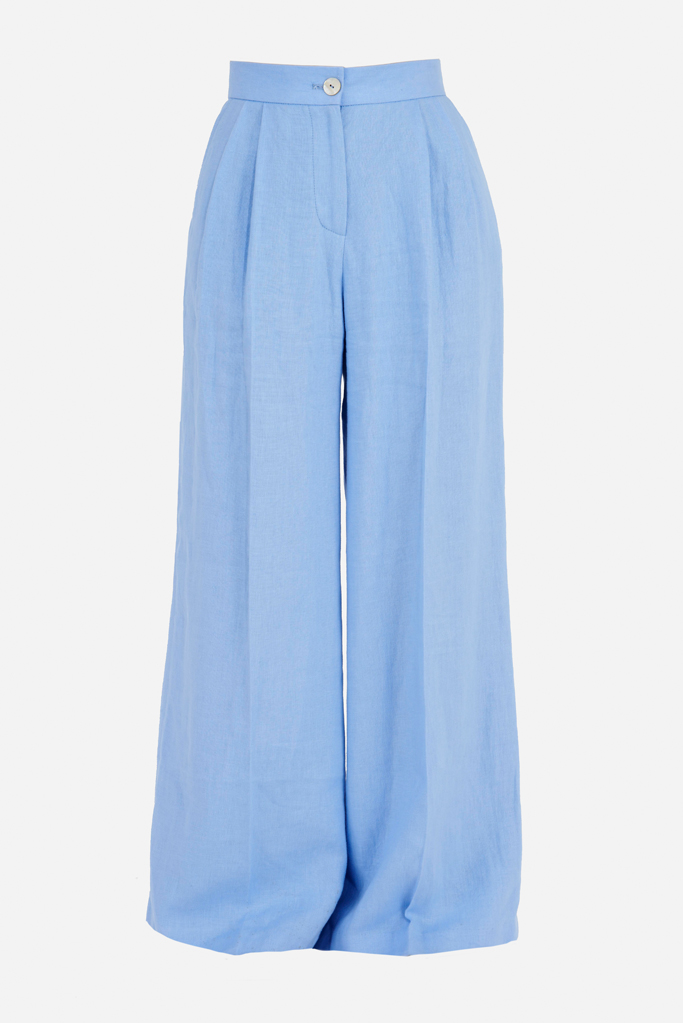 Ladies Palazzo Pants – Cool Blue Linen