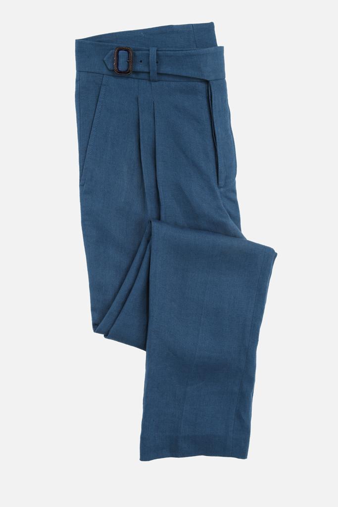 The Lucan Gurkha Trouser – Celtic Blue Irish Linen
