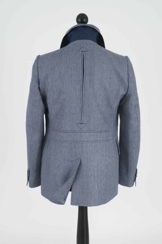 Clanmorris Jacket – Marine Wool-Linen Microcheck
