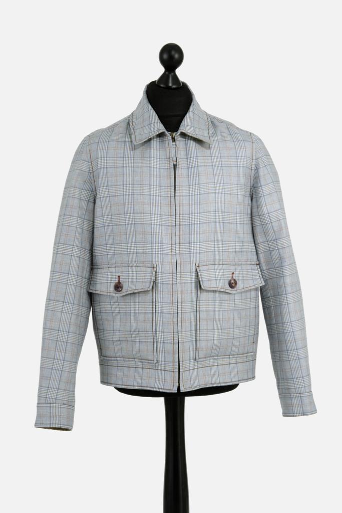 Fauconberg Jacket – Stoneblue Wool-Linen Check