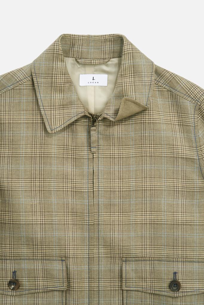 Fauconberg Jacket – Tan Wool-Linen Check