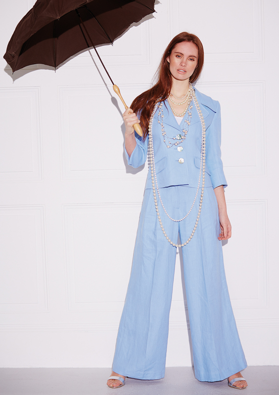 Ladies Palazzo Pants – Cool Blue Linen